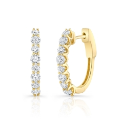 Yellow Gold Forevermark 1 Inch Prong Set Diamond Oval Hoops