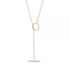 Rose Gold Diamond T Bar Toggle Necklace