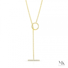 Yellow Gold Diamond T Bar Toggle Necklace