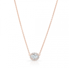 Rose Gold .30 Ct Oval Halo Necklace
