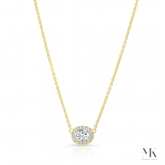 Yellow Gold .30 Ct Oval Halo Necklace
