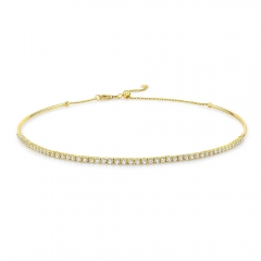 Yellow Gold Tennis Choker Necklace