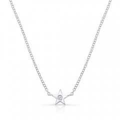 White Gold Petite Star Necklace