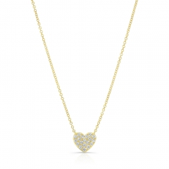 Yellow Gold Pave Heart Necklace