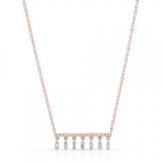 Rose Gold Dangling Baguette Bar Necklace
