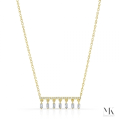 Yellow Gold Dangling Baguette Bar Necklace