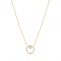 Yellow Gold Circle Necklace