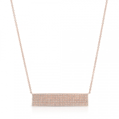 Rose Gold Large Pave Bar Necklace