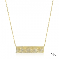 Yellow Gold Large Pave Bar Necklace