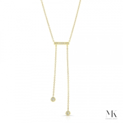 Yellow Gold Dangling Bar Necklace