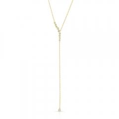 Yellow Gold Diamond Bezel Lariat Necklace