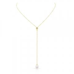 Yellow Gold Convertible Pearl Lariat