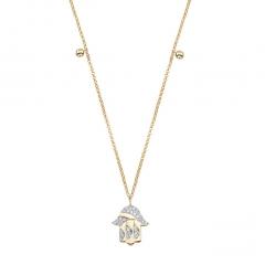 Yellow Gold Piety Hamsa Charm Necklace