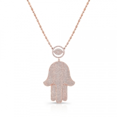 "Rose Gold Piety 1.75"" Signature Hamsa Necklace"