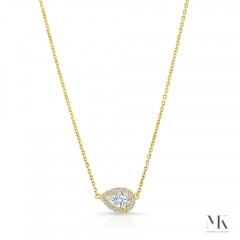 Yellow Gold Forevermark .30 Ct Pear Shape Halo Necklace