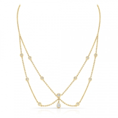 Yellow Gold Forevermark Dangling Pear Shape Choker Necklace