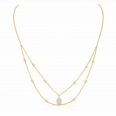 Yellow Gold Forevermark Halo Pear Shape Choker Necklace