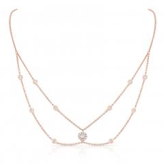 Rose Gold Forevermark Round Halo Choker Necklace