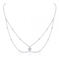 White Gold Forevermark Round Halo Choker Necklace