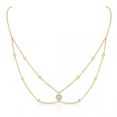 Yellow Gold Forevermark Round Halo Choker Necklace