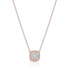 Rose Gold Forevermark Cushion Cluster Necklace