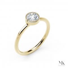 Forevermark Tribute Yellow Gold Milgrain Bezel Ring