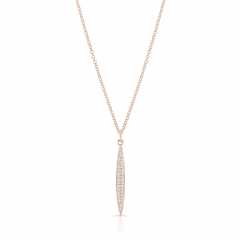 Rose Gold Pave Small Surf Board Pendant