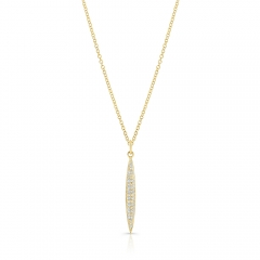Yellow Gold Pave Small Surf Board Pendant
