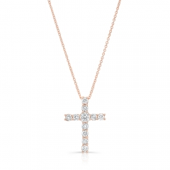 Rose Gold Piety Prong Set Cross Pendant