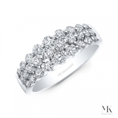 White Gold Triple Row Graduating Shared Prong Ring