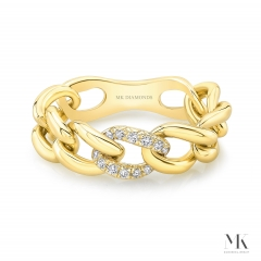 Pave Ladies Diamond Link Ring