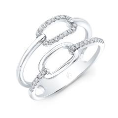 White Gold Double Row Fashion Ring