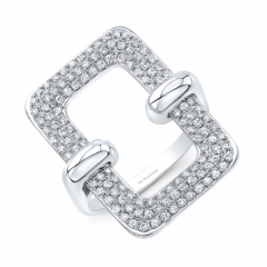 White Gold Open Pave Rectangle Ring
