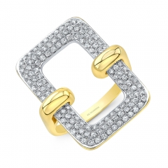 Yellow Gold Open Pave Rectangle Ring