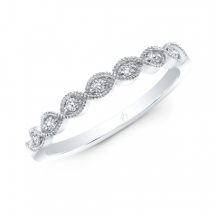 White Gold Milgrain Marquise Shaped Stackable Band