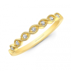 Yellow Gold Milgrain Marquise Shaped Stackable Band