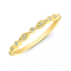Yellow Gold Alternating Shapes Stackable Band