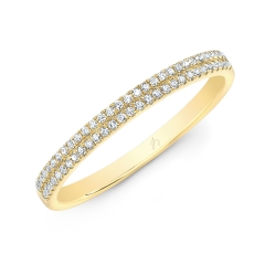Yellow Gold Two Row Pave Band