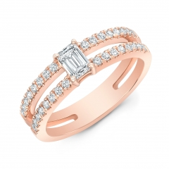 Rose Gold Forevermark Emerald Cut Double Band Ring