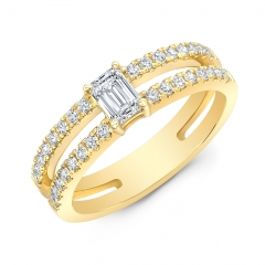 Yellow Gold Forevermark Emerald Cut Double Band Ring