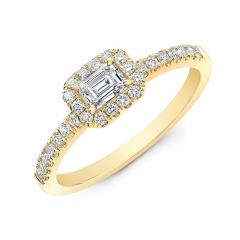 Yellow Gold Forevermark Emerald Cut Halo Ring